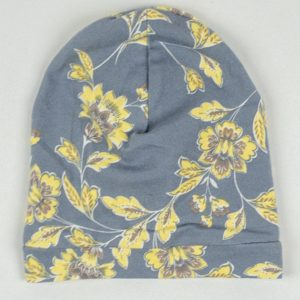 Beanie - Grey/Yellow Floral
