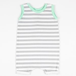 Romper - White Grey Stripe/Mint Shorts