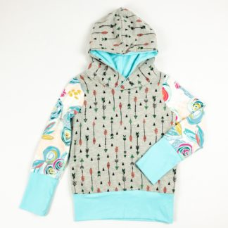 Hoodie - Grey Arrow/Chalk Floral/Aqua
