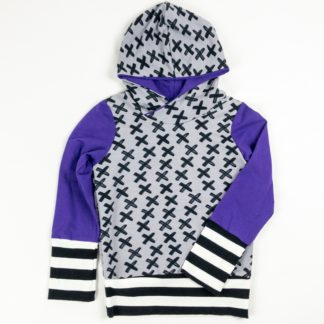 Hoodies - Grey X/Purple/BW Stripe