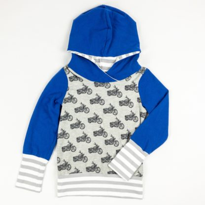Hoodie - Grey Motorbike/Royal/Grey Stripe