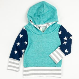Hoodies - Aqua/Navy Star/Grey Stripe