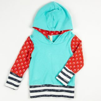 Hoodie - Aqua/Red Flower/Dark Grey Stripe