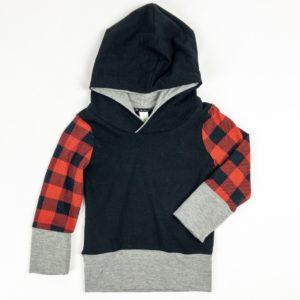 Hoodie - Black/Buffalo Plaid/Grey