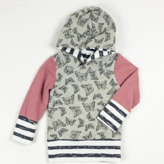 Hoodie - Butterfly/Rose/Dark Grey Stripe