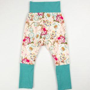 Harem Pants - Pink Floral/Seafoam