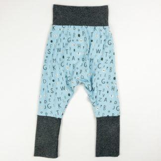 Harem Pants - Blue Alphabet/Dark Grey