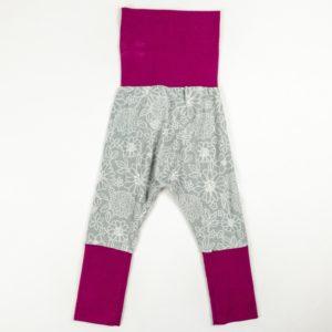 Harem Pants - Grey Floral/Deep Rose