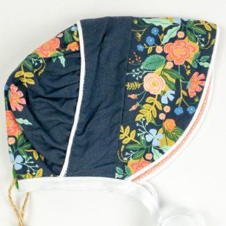 Bonnet - Navy Vine Floral/Peach Dot