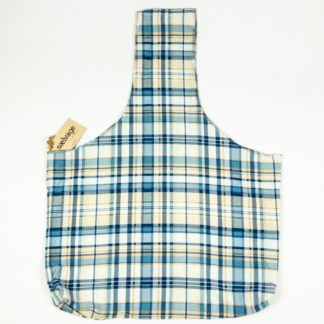 Upcycled Cloth Bag - Blue/Tan Plaid