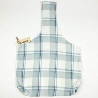 Upcycled Cloth Bag - Light Blue Plaid