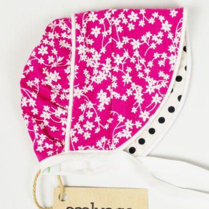 Bonnet - Pink Floral/Black Dot