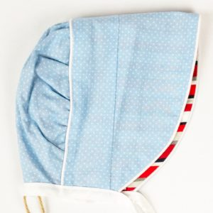 Bonnet - Light Blue Pindot/Red Stripe