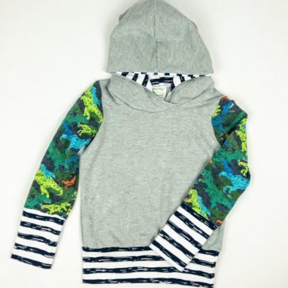 Hoodies - Grey/Dinosaur/Stripe