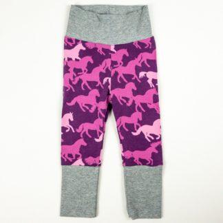 Leggings - Purple Horses/Grey
