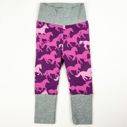 Leggings - Purple Horses/Grey