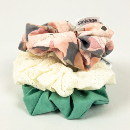 Scrunchie Bundle - Seafoam/Eyelet/Pink Floral
