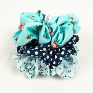 Scrunchie Bundle - Blue Music/Navy Dot/Aqua Floral