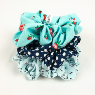 Scrunchie Bundle - Blue Music/Navy Dot/Aqua Floral