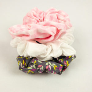 Scrunchie Bundle - Grey Leaf/White Eyelet/Pink Gingham