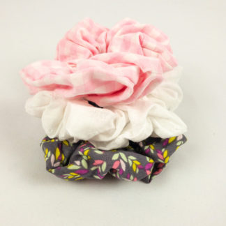 Scrunchie Bundle - Grey Leaf/White Eyelet/Pink Gingham