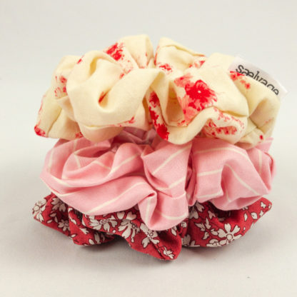 Scrunchie Bundle - Red Floral/Cotton Candy Stripe/Red Bunches