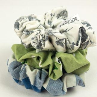 Scrunchie Bundle - Blue Gingham/Green Floral/Grey Floral