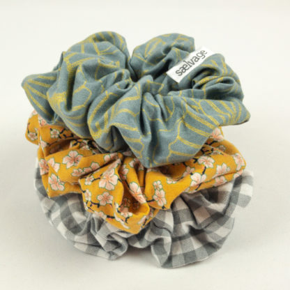 Scrunchie Bundle - Grey Gingham/Mustard Floral/Gunmetal Floral