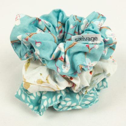 Scrunhie Bundle - Aqua Leaf/White Floral/Cherry Blossom