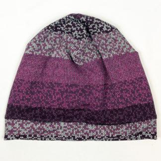 Beanie - Purple Knit Stripes