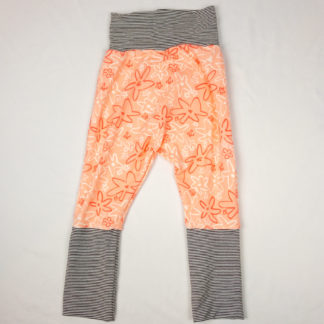 Harem Pants - Peach Floral/Grey Mini Stripes