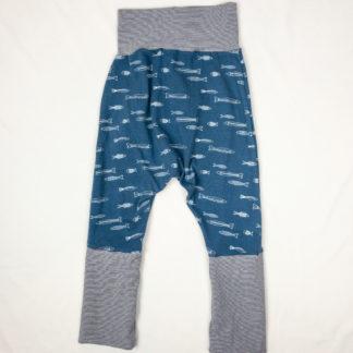 Harem Pants - Blue Fish/Navy Micro Stripe